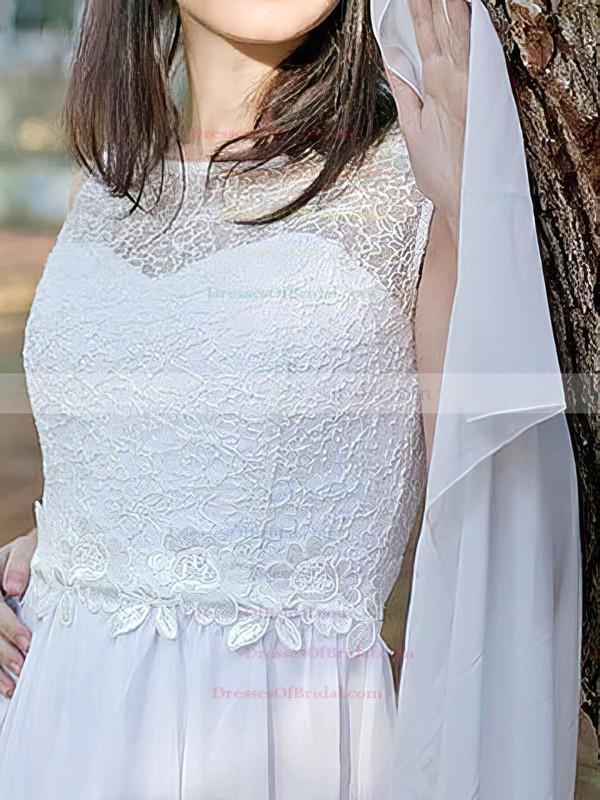Scoop A-line Court Train Chiffon Lace Wedding Dresses #DOB00020486