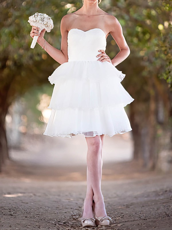 Sweetheart Ball Gown Short/Mini Organza Tiered Wedding Dresses #DOB00020492