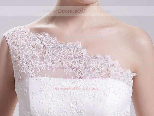 One Shoulder Ball Gown Court Train Satin Lace Wedding Dresses #DOB00020493
