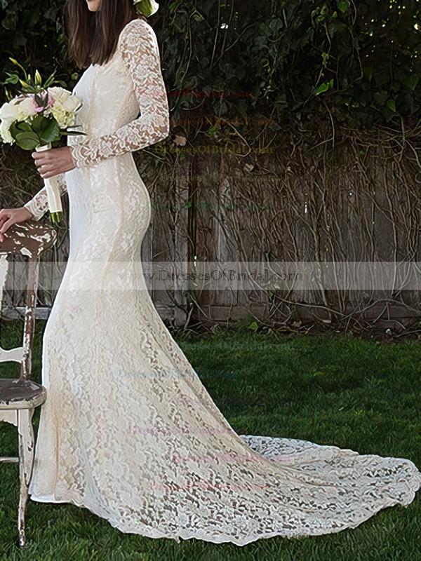 High Neck Sheath/Column Court Train Lace Draped Wedding Dresses #DOB00020495