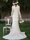 High Neck Sheath/Column Court Train Lace Draped Wedding Dresses #DOB00020495