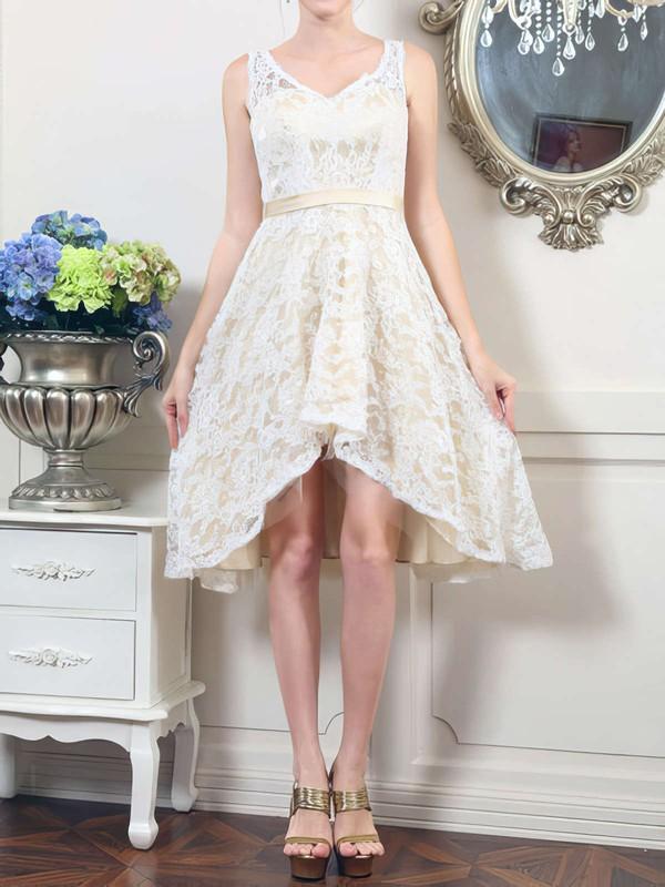 V-neck A-line Asymmetrical Lace Satin Sashes/Ribbons Wedding Dresses #DOB00020498