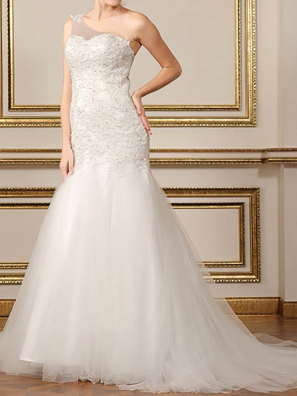 One Shoulder Trumpet/Mermaid Court Train Tulle Satin Lace Wedding Dresses #DOB00020500