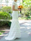 Scalloped Sheath/Column Sweep Train Lace Satin Draped Wedding Dresses #DOB00020502
