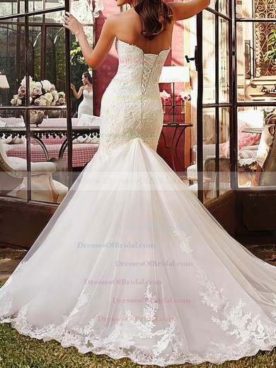 Sweetheart Trumpet/Mermaid Court Train Tulle Satin Lace Wedding Dresses #DOB00020510
