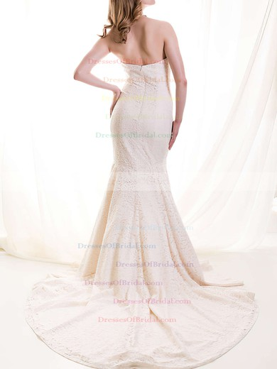 Sweetheart Trumpet/Mermaid Court Train Lace Satin Draped Wedding Dresses #DOB00020513