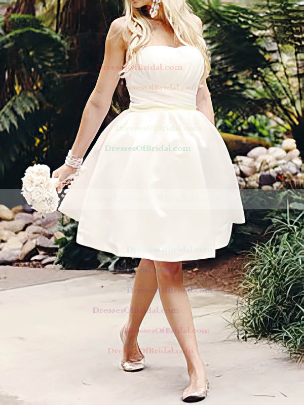 Strapless Ball Gown Knee-length Satin Ruffles Wedding Dresses #DOB00020516