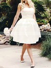 Strapless Ball Gown Knee-length Satin Ruffles Wedding Dresses #DOB00020516