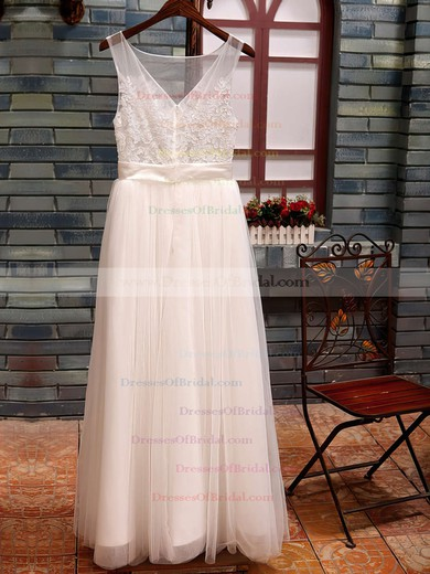 Bateau A-line Floor-length Tulle Satin Appliques Wedding Dresses #DOB00020518