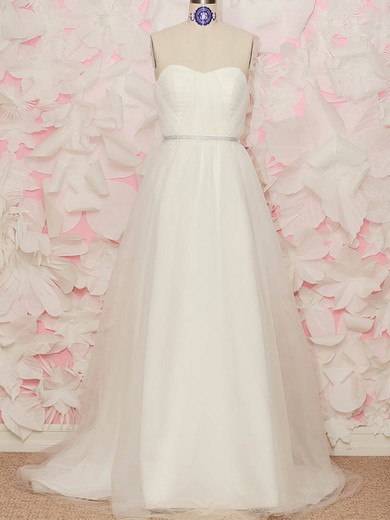 Sweetheart A-line Sweep Train Tulle Satin Ruffles Wedding Dresses #DOB00020519