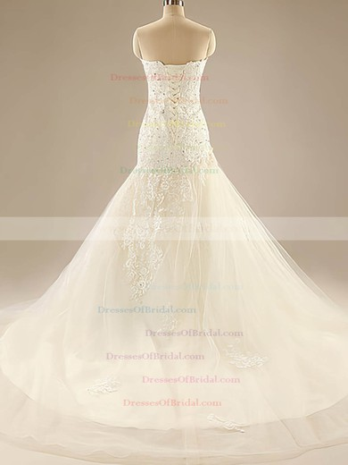 Sweetheart Trumpet/Mermaid Court Train Tulle Satin Lace Wedding Dresses #DOB00020525