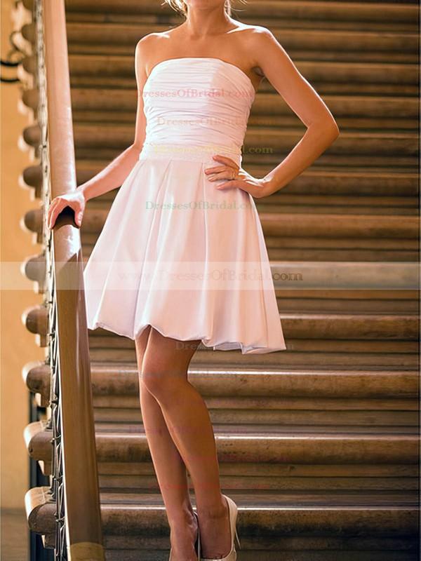 Strapless A-line Short/Mini Satin Ruffles Wedding Dresses #DOB00020530