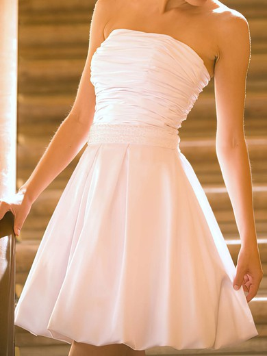 Strapless A-line Short/Mini Satin Ruffles Wedding Dresses #DOB00020530