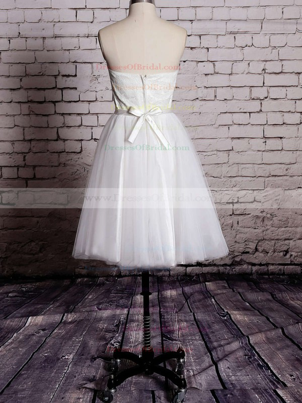 Sweetheart Ball Gown Knee-length Tulle Satin Lace Wedding Dresses #DOB00020533