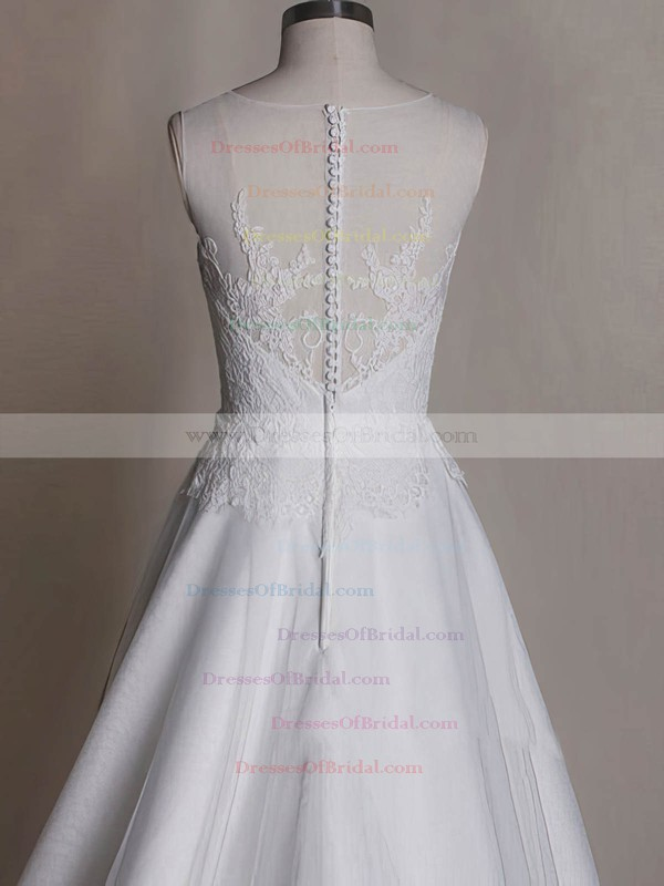 Scoop A-line Sweep Train Tulle Satin Lace Wedding Dresses #DOB00020535