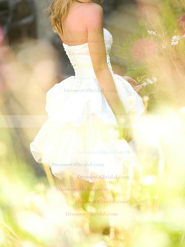 Sweetheart Ball Gown Short/Mini Satin Pick-Ups Wedding Dresses #DOB00020538