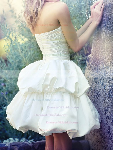 Sweetheart Ball Gown Short/Mini Satin Pick-Ups Wedding Dresses #DOB00020538