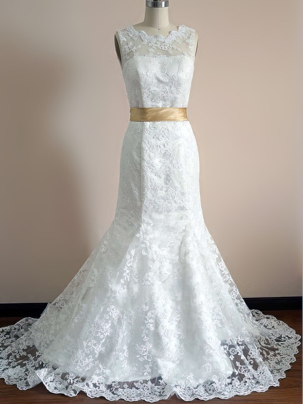 Scalloped Trumpet/Mermaid Court Train Lace Satin Sashes/Ribbons Wedding Dresses #DOB00020542