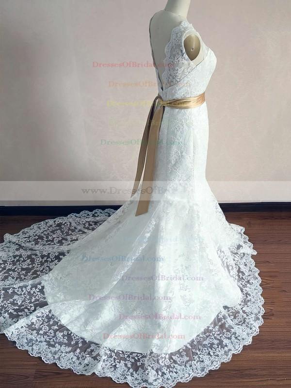 Scalloped Trumpet/Mermaid Court Train Lace Satin Sashes/Ribbons Wedding Dresses #DOB00020542
