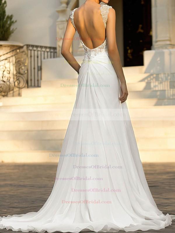 Straps A-line Sweep Train Chiffon Beading Wedding Dresses #DOB00020543