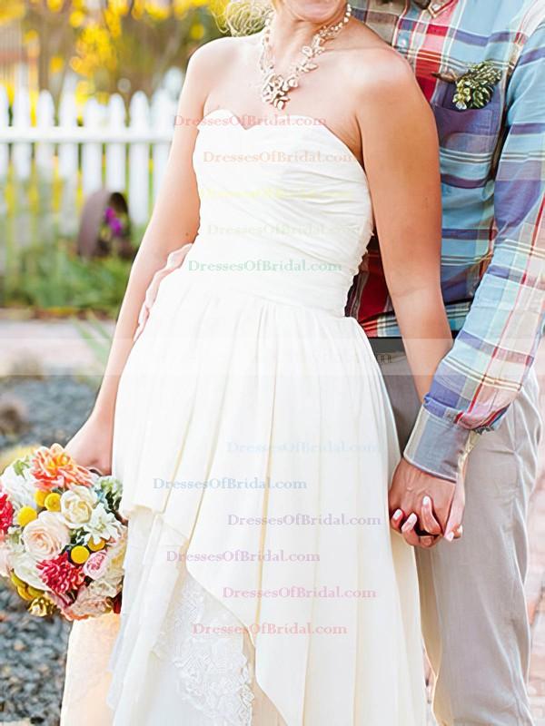 Sweetheart A-line Asymmetrical Taffeta Lace Tiered Wedding Dresses #DOB00020544