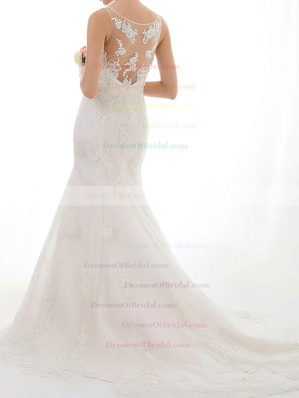 Bateau Trumpet/Mermaid Court Train Lace Satin Beading Wedding Dresses #DOB00020547