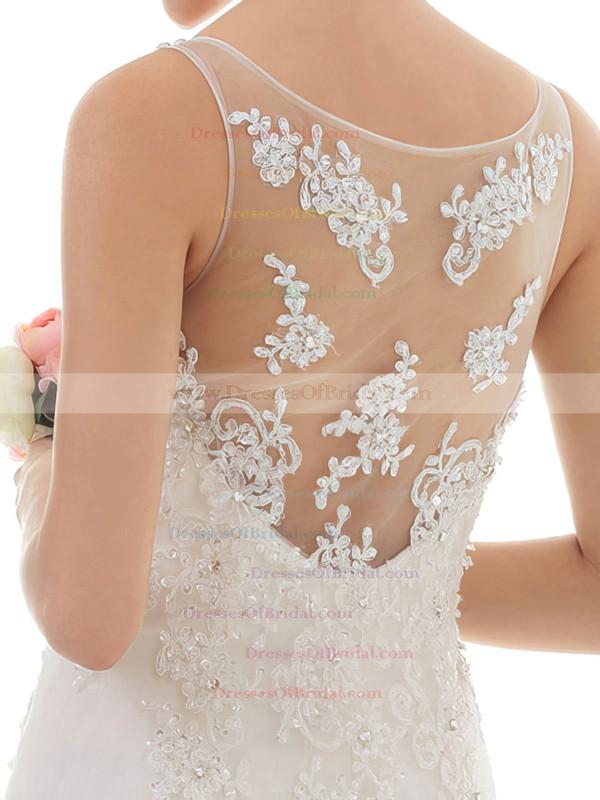 Bateau Trumpet/Mermaid Court Train Lace Satin Beading Wedding Dresses #DOB00020547