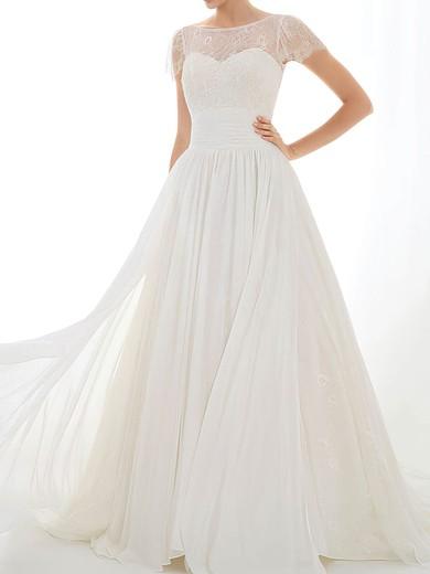 Bateau A-line Court Train Chiffon Lace Appliques Wedding Dresses #DOB00020548