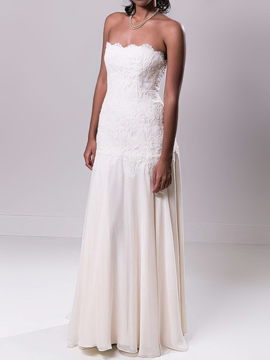 Strapless Sheath/Column Sweep Train Lace Chiffon Draped Wedding Dresses #DOB00020549