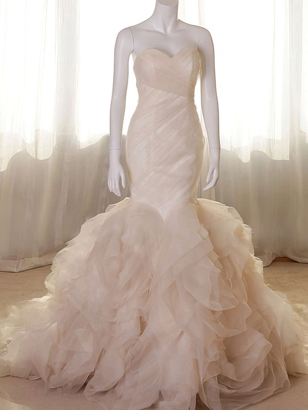 Sweetheart Trumpet/Mermaid Court Train Organza Tiered Wedding Dresses #DOB00020555