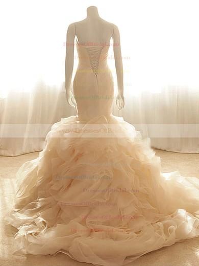 Sweetheart Trumpet/Mermaid Court Train Organza Tiered Wedding Dresses #DOB00020555