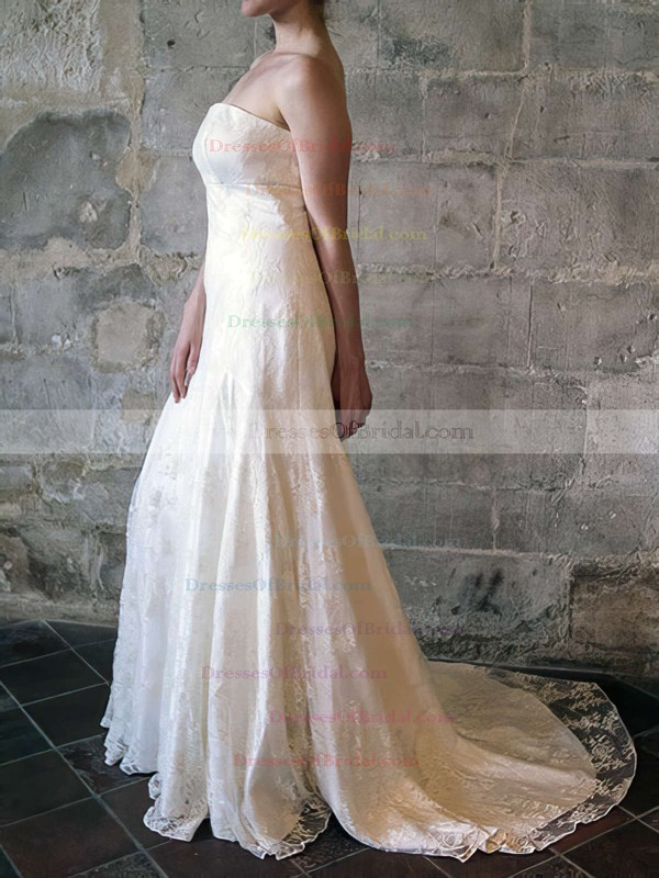 Strapless Trumpet/Mermaid Court Train Lace Satin Draped Wedding Dresses #DOB00020556