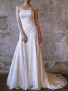 Strapless Trumpet/Mermaid Court Train Lace Satin Draped Wedding Dresses #DOB00020556