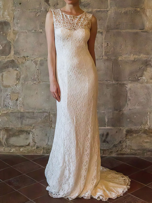 Scoop Sheath/Column Sweep Train Lace Satin Draped Wedding Dresses #DOB00020558
