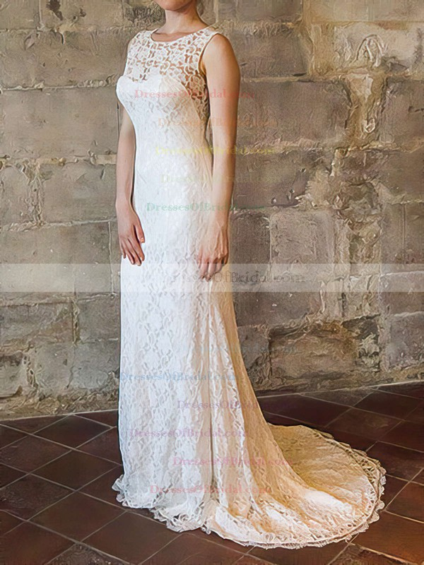 Scoop Sheath/Column Sweep Train Lace Satin Draped Wedding Dresses #DOB00020558