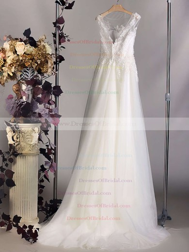 Bateau A-line Court Train Tulle Satin Lace Wedding Dresses #DOB00020564
