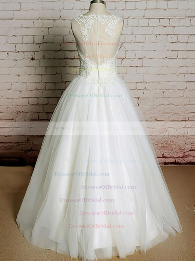 Bateau Ball Gown Floor-length Tulle Satin Lace Wedding Dresses #DOB00020565