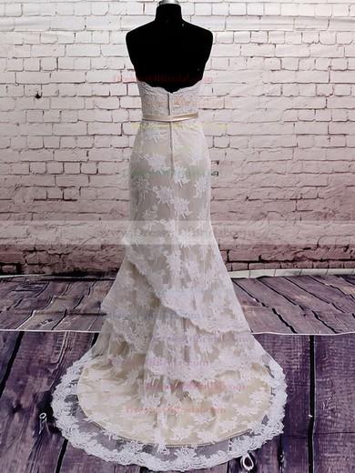 Strapless Trumpet/Mermaid Court Train Lace Satin Sashes/Ribbons Wedding Dresses #DOB00020566