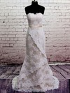 Strapless Trumpet/Mermaid Court Train Lace Satin Sashes/Ribbons Wedding Dresses #DOB00020566