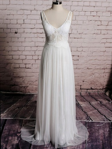 V-neck Sheath/Column Sweep Train Tulle Satin Appliques Wedding Dresses #DOB00020567