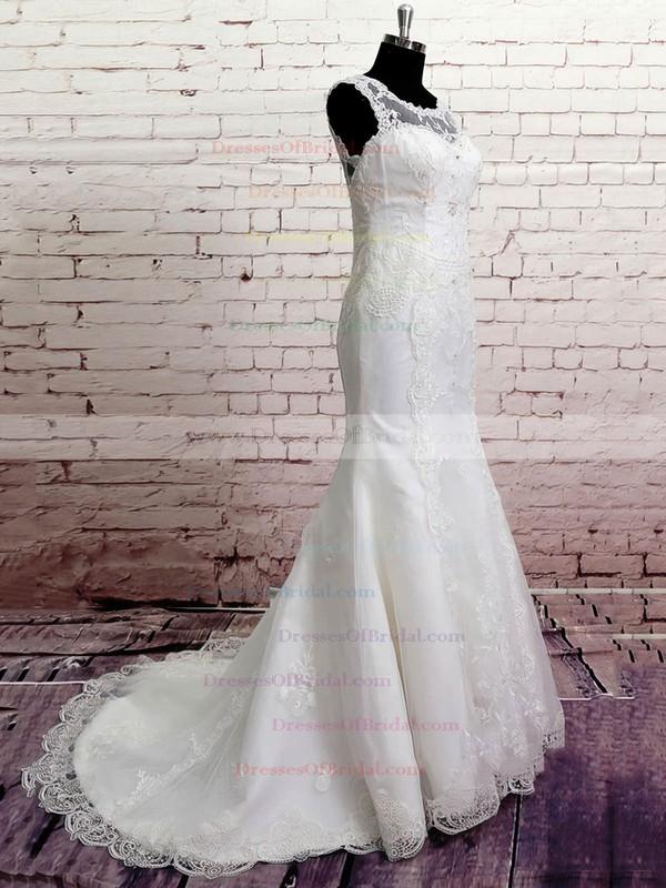 Scoop Trumpet/Mermaid Court Train Lace Satin Beading Wedding Dresses #DOB00020568