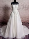 Scoop A-line Sweep Train Tulle Satin Lace Wedding Dresses #DOB00020569