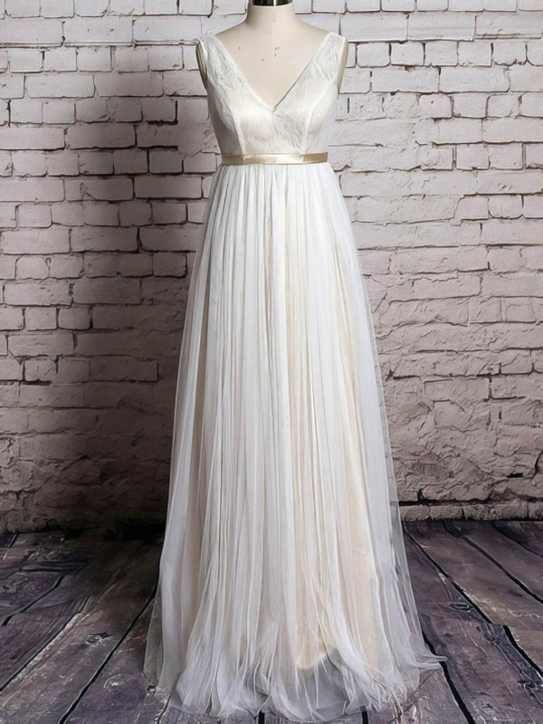 V-neck A-line Floor-length Tulle Lace Satin Sashes/Ribbons Wedding Dresses #DOB00020570