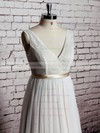 V-neck A-line Floor-length Tulle Lace Satin Sashes/Ribbons Wedding Dresses #DOB00020570