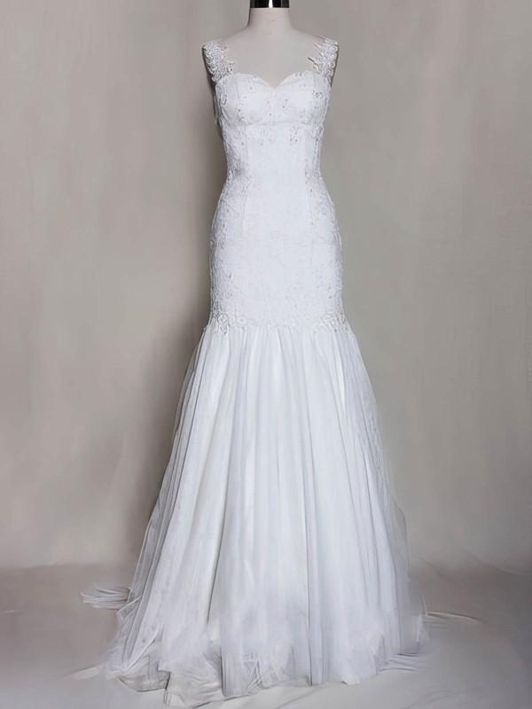 Straps Trumpet/Mermaid Sweep Train Tulle Lace Appliques Wedding Dresses #DOB00020571