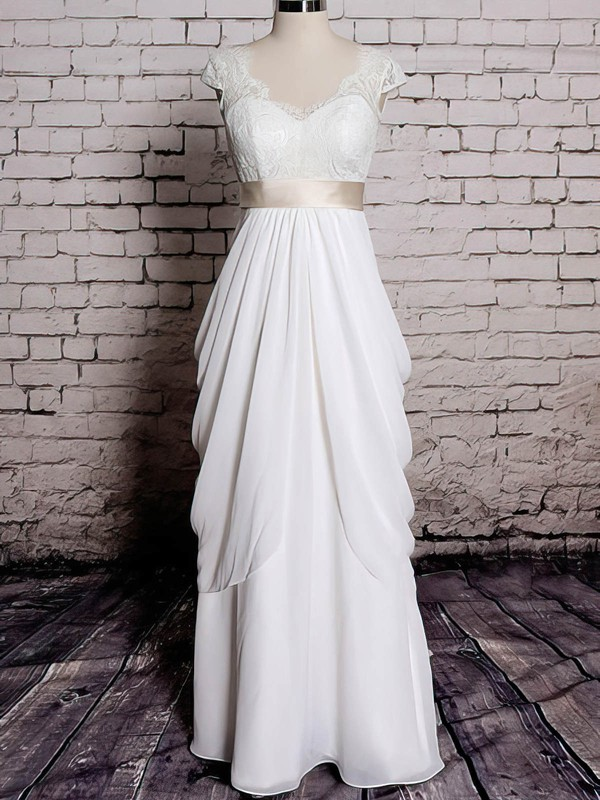 V-neck Sheath/Column Sweep Train Chiffon Lace Wedding Dresses #DOB00020572