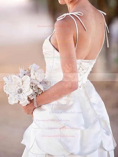 Spaghetti Straps A-line Short/Mini Satin Tiered Wedding Dresses #DOB00020575