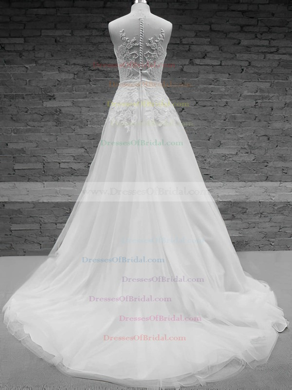 Scoop A-line Court Train Tulle Satin Appliques Wedding Dresses #DOB00020576