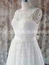 Bateau A-line Knee-length Lace Satin Sashes/Ribbons Wedding Dresses #DOB00020580