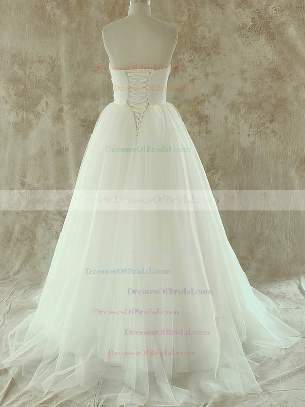 Sweetheart A-line Court Train Tulle Satin Ruffles Wedding Dresses #DOB00020581